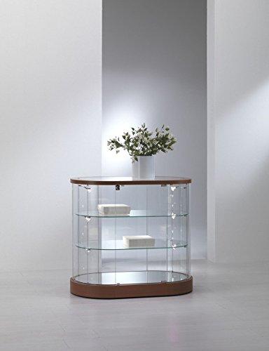 Vitrine Standvitrine Oval Showcase Werkbank Glas Geschäft oder Haus mit Beleuchtung
