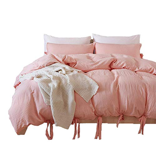 DuShow Solid Color Pink Duvet Cover Set Queen Egyptian Microfiber Bedding Set High Thread Count 3PC Comforter Cover Set Hotel Quality Blush Soft Breathable Quilt Cover ()