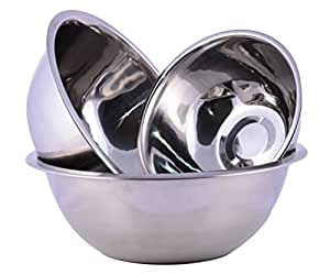 Stainless Steel Cuissentials Set of 3 Kitchen Mixing Bowls High Quality Fine Dining Mirror Finish, Flat Base Curved Lips Prep Bowls, Size 1 Qt, 2 Qt, 5 Qt
