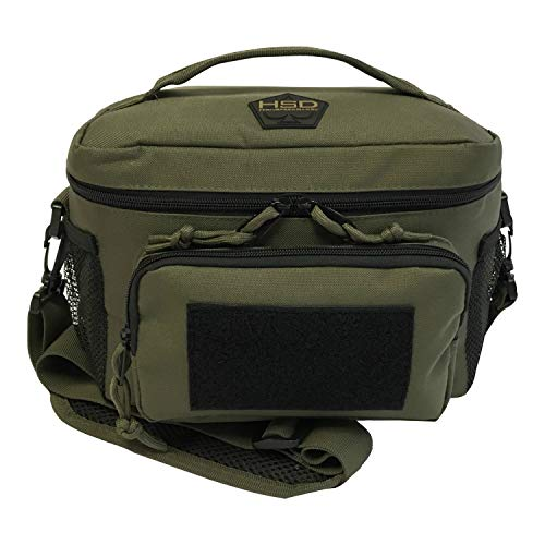 HSD Tactical Lunch Bag - Insulated Cooler, Lunch Box with MOLLE/PALS Webbing, Adjustable Padded Shoulder Strap, for Adults and Kids (Ranger Green)