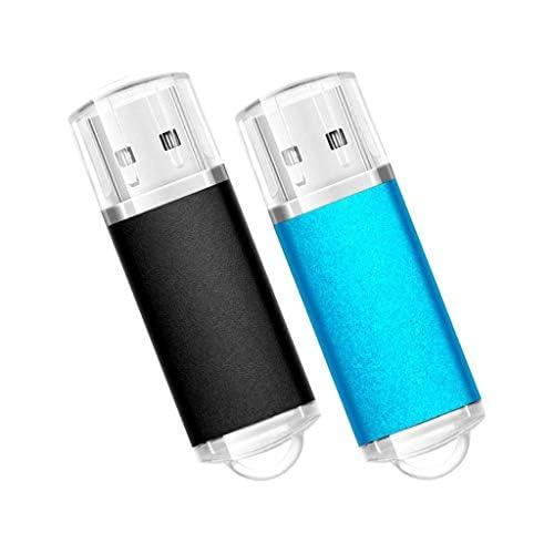 TosMemo 2Pack 8GB USB 2.0 Flash Drive 8GB Thumb Drive Memory Stick Jump Drive (Black/Light Blue)