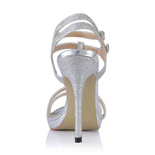 dîner à talon chaussures Silver la femme d'argent chaussures nouveaux de Toe Peep des d'été haut produits annuel Sandales qIgwnxUzBB