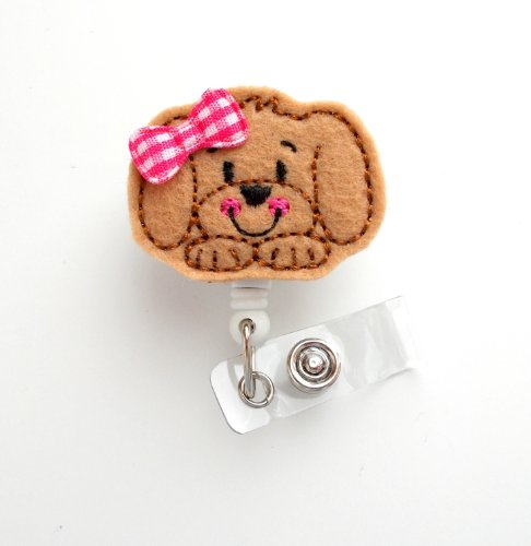 Sweet Puppy Face with bow - Cute Badge Holder - Nurses Badge Holder - Felt Badge Holder - Nursing Badge Holder - Cute Badge Reel - RN Badge Reel - Teacher Badge - Badge Clip - Badge Pull