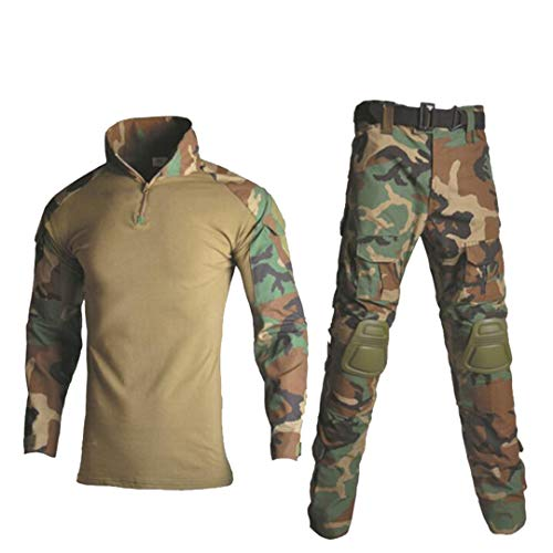 Uniforme militaire tactique camouflage pour homme avec chemise de combat + pantalon cargo genouillères 4