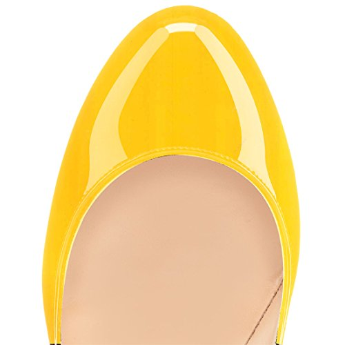 Eldof Womens High Heel Pumps Round Toe Stilettoes 4.7 Sky High Heels Party Dress Pumps Yellow TCbwVHlqZ
