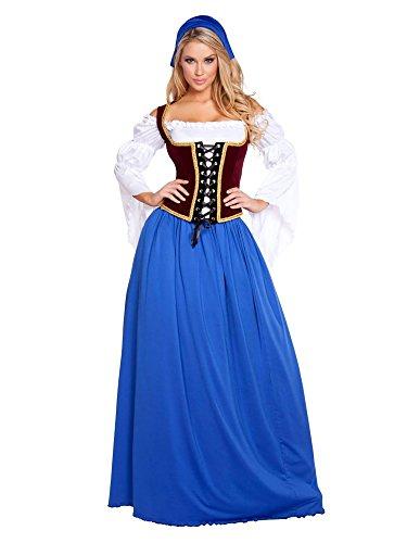 Roma Costume Women's 4 Piece Beautiful Bar Maiden, Blue/Burgundy, Small