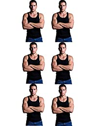 Andrew Scott Men's 6 Pack Big & Tall Man Extra Tall Long Color Tank Top A Shirt