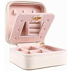 Jewelry Box, Csinos Portable Travel Jewelry Case Earring Holder Necklace Organizer Jewelry Case PU Leather Jewelry Organizer with Zipper (Tower)