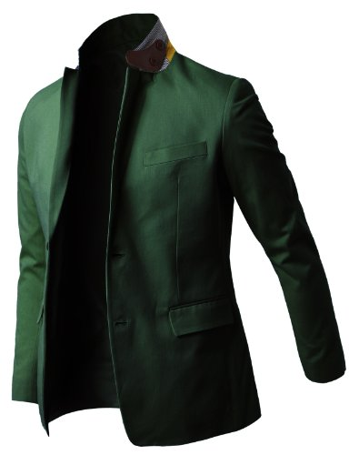 H2H Mens Casual Two Buttons Cotton Blazers Sports Jackets GREEN US S/Asia L (JLSK19)