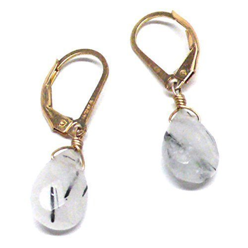Rutilated Quartz Briolette Gold-Filled Lever Back Earrings Custom