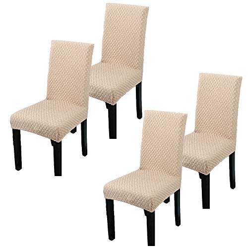 REMEE Dining Chair Slipcovers Stretch Chair Seat Protector Covers for Hotel Dining Room Banquet Wedding Party,Washable and Removable (4, Beige)