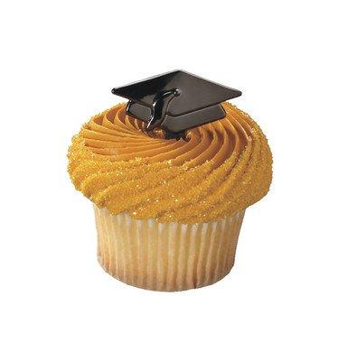 Black Metallic Graduation Hat Cupcake Picks - 24 pc (Plastic Topper Hat)