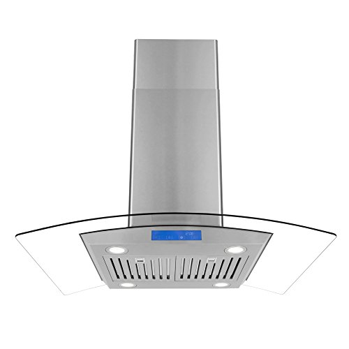 - Cosmo 668ICS900 36-in Kitchen Ceiling Island Mount Range Hood 900-CFM with Chimney, LED Lights, Permanent Filters, and Convertible Duct, in in Stainless Steel