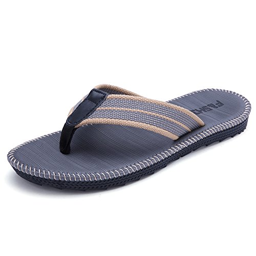 HomyWolf Mens Non-Slip Sandals Shock Proof Slippers Beach Flip-Flop,Grey, Size US 9-10