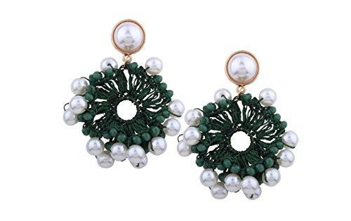 perles tempérament boucles main Green la multicolores multicolore boucles d'oreilles d'oreilles de coton imitation à Perles tissées en qB1TxxS