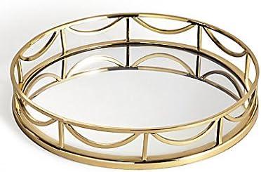 Decorative Round Mirror Tray Gold Mix Amazon Co Uk Kitchen Home