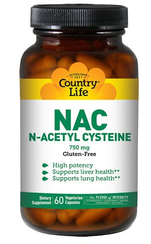 Country Life NAC N-Acetyl Cysteine -- 750 mg - 60 Vegetarian Capsules - 3PC by Country Life