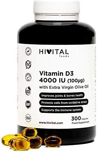 Vitamina D3 4000 UI | 300 perlas para 10