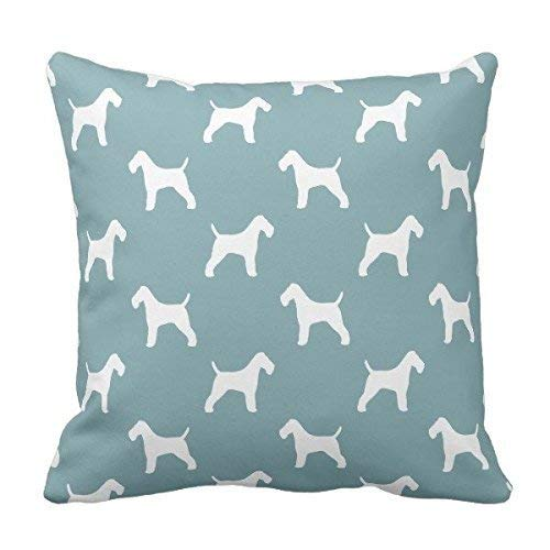 Silhouette Fox Terrier Wire (LODRR Pillow case SJFY Wire Fox Terrier Silhouettes Pattern Throw Pillowcase)