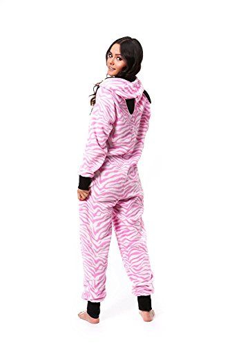 Ragstock Women's Onesie Pajamas (X-Large, White-Pink-Zebra_0190)