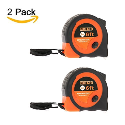 2 Pack Tape Measure 6FT/2M By HEIKIO, Metric and Inch Scale, Sturdy Mark for Easily Reading- Portable Measuring Tape H17004