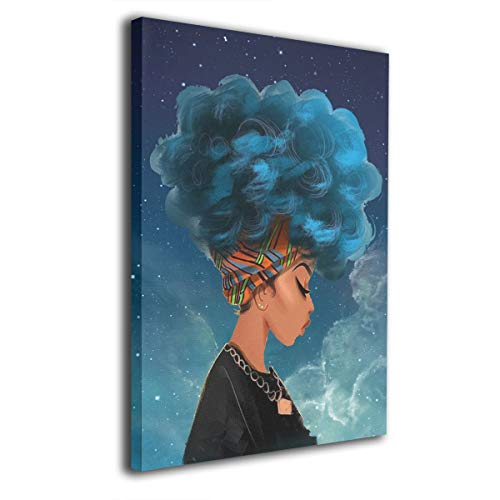 Cool Africa Woman with Blue Natural Hair Comtemporary Canvas Wall Art Photo Printed On Canvas Framed Artwork for Office Wall Decoration Ready to Hang 16x20in