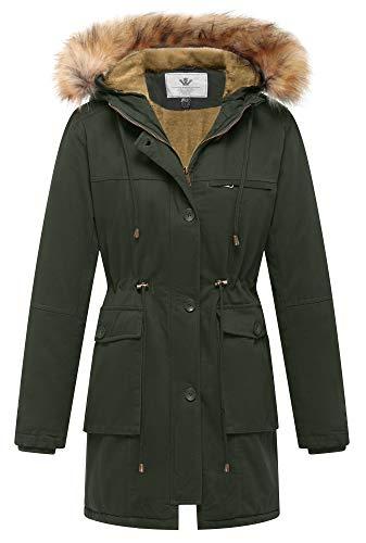 WenVen Women's Winter Lapel Jacket Fleece Cotton Military Coat(Army Green,XL) (Army Green Coat Women)