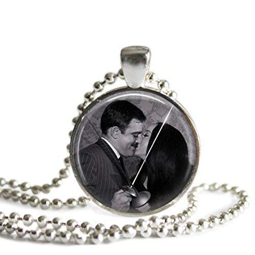 Morticia and Gomez Addams Fencing 1 inch Picture Pendant Necklace or -
