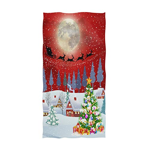 Naanle Winter Village Beautiful Christmas Tree Flying Santa Print Soft Highly Absorbent Large Decorative Hand Towels Multipurpose for Bathroom, Hotel, Gym and Spa (16 x 30 Inches) (Terrys Village Santa)