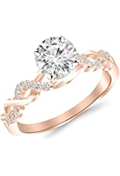 0.63 Carat Twisting Infinity Gold and Diamond Split Shank Pave Set Diamond Engagement Ring 14K White Gold with a 0.5 Carat Round Cut Moissanite (Heirloom Quality)