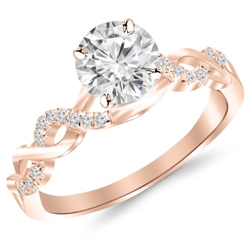 0.63 Carat Twisting Infinity Gold and Diamond Split Shank Pave Set Diamond Engagement Ring 14K Rose Gold with a 0.5 Carat J-K I2 Round Brilliant Cut/Shape Center