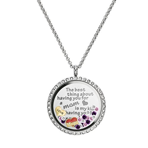 Best Mom Locket (The Best Thing About Having You For A Mom Is My Kids Having You For A Grandma Stainless Steel Locket Pendant Floating Charms Necklace)