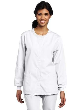 Dickies Scrubs Women's Warm Up Jacket, White, X-Small