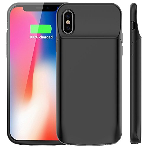 iPhone X Battery Case,Deriruler Charger Case For iPhone X/10 (5.8 inch) 3600Mah External Rechargeable Backup Pack Case Protective Charger Case(Black)