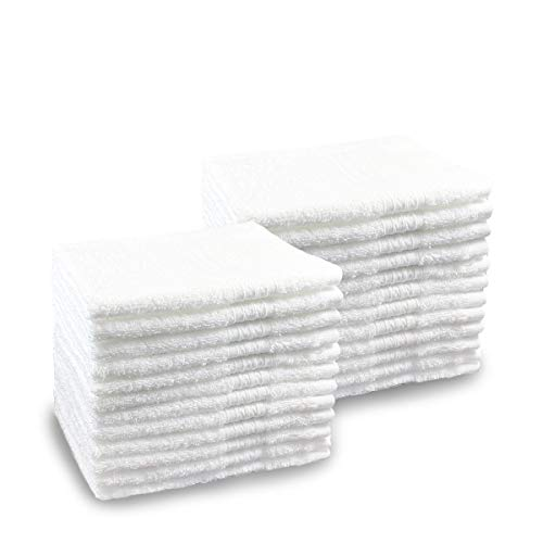 Pacific Linens 24-Pack White 100% Cotton Towel Washcloths, Durable, Lightweight, Commercial Grade and Ultra Absorbent by Pacific Linens