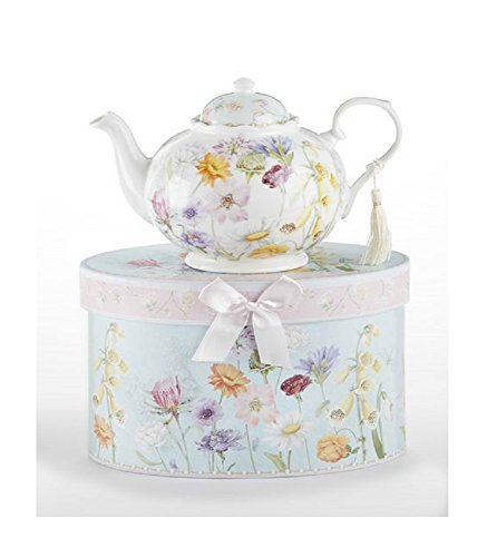 Delton Products Wildflower 9.5 inches x 5.6 inches Porcelain Tea Pot in Gift Box - Teapot Delton