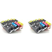 10 Photosharp non-OEM (not canon) MX870 compatible ink toner cartridge to replace 2 of each Cannon PGI-220/CLI-221 (PGBK/BK/C/M/Y) Black/Cyan/Magenta/Yellow for Pixma MX-870 all-in-one inkjet printer
