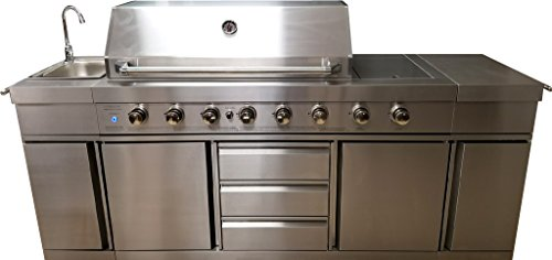 3 in 1 Island 8 Zone BBQ Outdoor Electric Grill Kitchen, Propane or Natural Gas, with Sink, Side Burner, LED Lights on Knobs, and Free Protective Canvas Cover