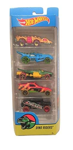 (Hot Wheels 2017 Dino Riders 5-Pack ~ Fangster, T-Rextroyer, Croc Rod, Enforcer, Dino Hunter Humvee)