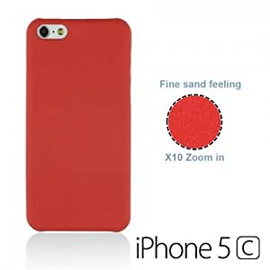 OnlineBestDigital - Frosted Surface Hard Back Plastic Case for Apple iPhone 5C - Red with 3 Screen Protectors