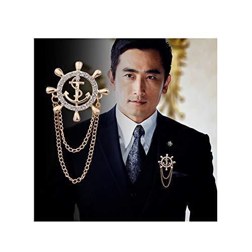 JczR.Y Rhinestone Anchor Rudder Brooch Pins Chain Fashion Navy Men's Suit Pin Wedding Party Jewelry(Gold) from JczR.Y