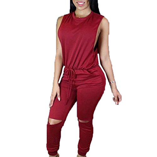 Teamoluna Women Fashion Sleeveless Drawstring Broken Holes Jumpsuit Romper Outfit (US,XS/Asia,S) Red