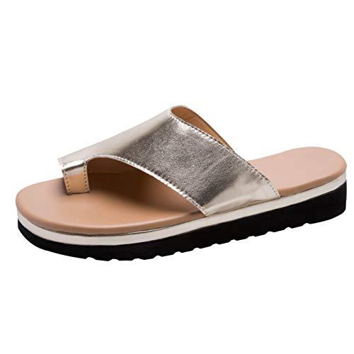 Bunion Sandals for Women Comfy - Bunion Corrector Platform Shoes Women Flip-Flop Light Weight Ladys Shoes 2019 Size 10 Gold
