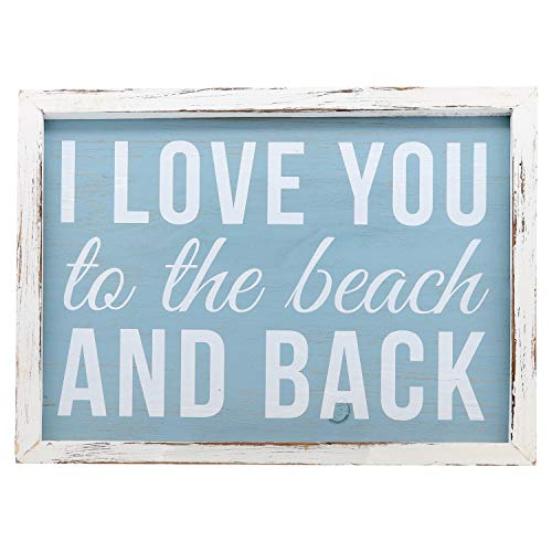 Barnyard Designs I Love You to The Beach and Back Wooden Wall Sign Beach House Home Decor Sign 16