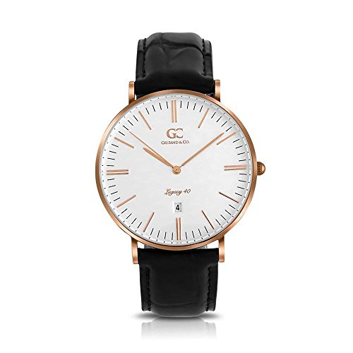 Gelfand & Co. Lexington 40mm Unisex Rose Gold White Dial Black Crocodile Leather Minimalist Watch
