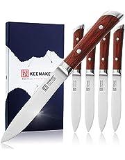 KEEMAKE Steak Knives, Set of 4, Large 5.5 Inch Half Serrated Wide Belly German 1.4116 High Carbon Stainless Steel Brushed Blade Dishwaher Safe Pakkawood Handle