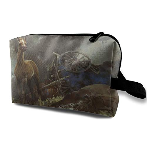 Rollover Carriage Horse Cosmetic Bags Makeup Organizer Bag Pouch Zipper Purse Handbag Clutch Bag]()