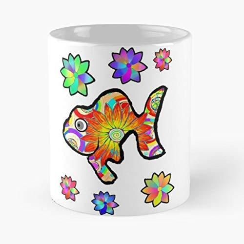 Fish Flowers Petals Sun - Coffee Mugs,handmade Funny 11oz Mug Best Holidays Gifts For Men Women Friends.