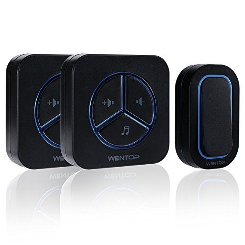 WenTop Wireless Doorbell Kit Digital Programmable Door Chime Operating at 1000ft with (Apartment Door Knockers)