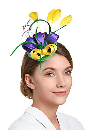 - Fascinators Hat for Women Tea Party Headband Kentucky Derby Wedding Cocktail Flower Mesh Feathers Hair Clip (4-Green+Purple+Yellow)